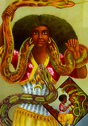 Mami Wata, a contemporary image, seen with her snakes, sans mertail.