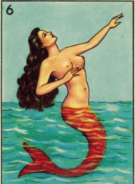 perhaps not entirely an accurate portrayal of Lasiren, this is La Sirena from La Loteria, a Mexican card game.