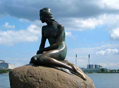 "the little mermaid, watching over her prince.  ""The Little Mermaid"" Statue in Copenhagen."