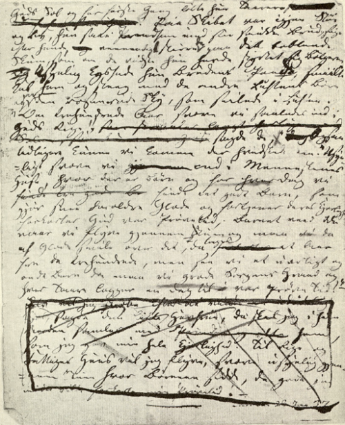 The last page of the handwritten manuscript of The LIttle Mermaid.  You can see that Andersen also had doubts about the ending. Sea foam?