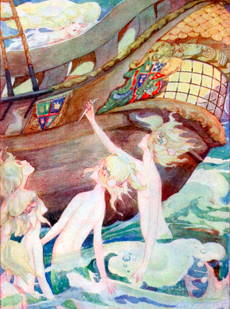 The Little Mermaid's Sisters, by Ann Anderson.  See them desperately try to convince her to come with them.